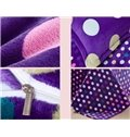 Warm Flanel Purple Polka Dots Pattern Kids Duvet Cover Set