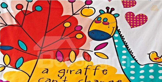 Super Cute Giraffe and Leaves Print Kids 3-Piece Duvet Cover Set