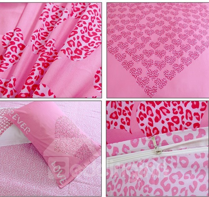 Love Forever Pink Leopard Heart Shape Pattern 3-Piece Duvet Cover Set