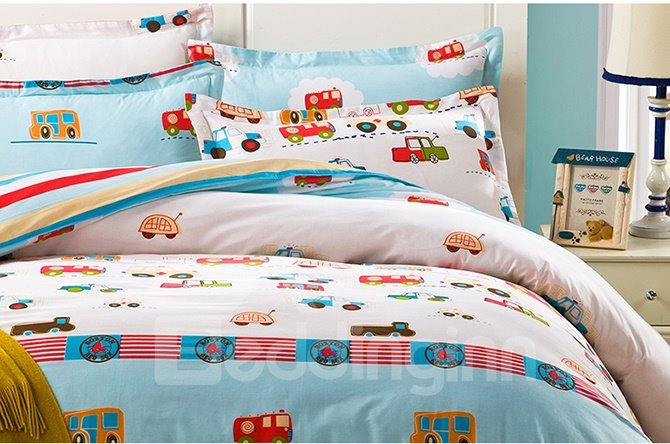 100% Cotton Cars Pattern Kids 3-Piece Duvet Cover Set