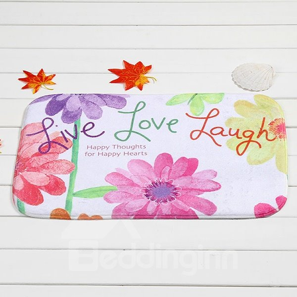 Inspiring Letters Live Love Laugh Floral Coral Velvet Anti-Slipping Doormat