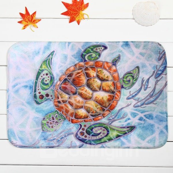 Creative Cartoon Turtle Coral Velvet Anti-Slipping Doormat