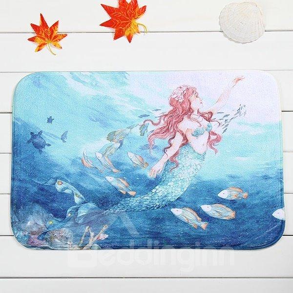 Wonderful Mermaid Pattern Coral Velvet Anti-Slipping Doormat