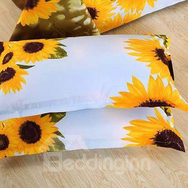 Bright Sunflowers Design Cotton 2-Piece Pillow Cases