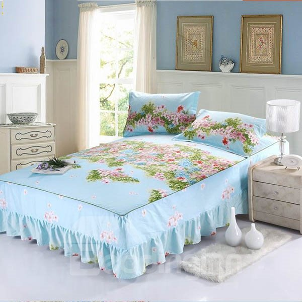 Graceful Flowers Design Blue Bed Skirt with 2-Piece Pillow Cases