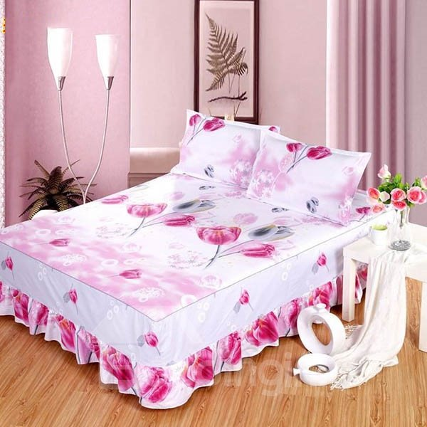 Romantic Pink Flowers Design Bed Skirt with 2-Piece Pillow Cases
