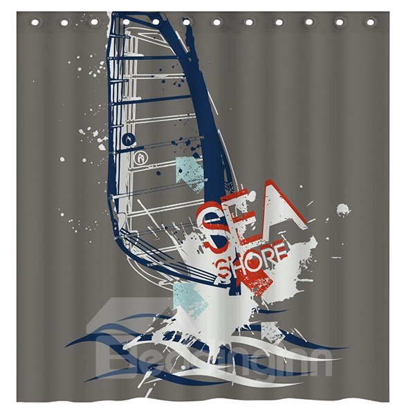 Creative Doodle Sea Shore Surfing 3D Shower Curtain