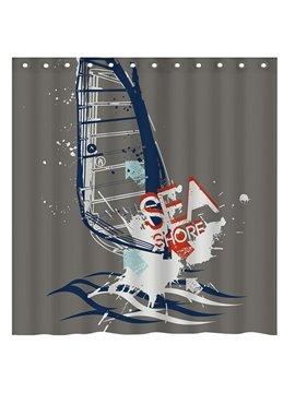 Creative Doodle Sea Shore Surfing 3D Shower Curtain