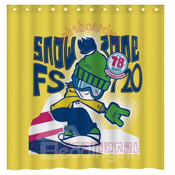 Innovaive Design Cool Boy Playing Skateboard 3D Shower Curtain