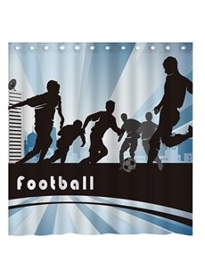 Modern Sports Cool Boys Playing Football 3D Shower Curtain