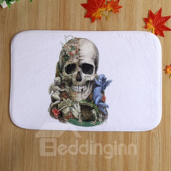 Unique Skull and Angels Coral Velvet Anti-Slipping Doormat