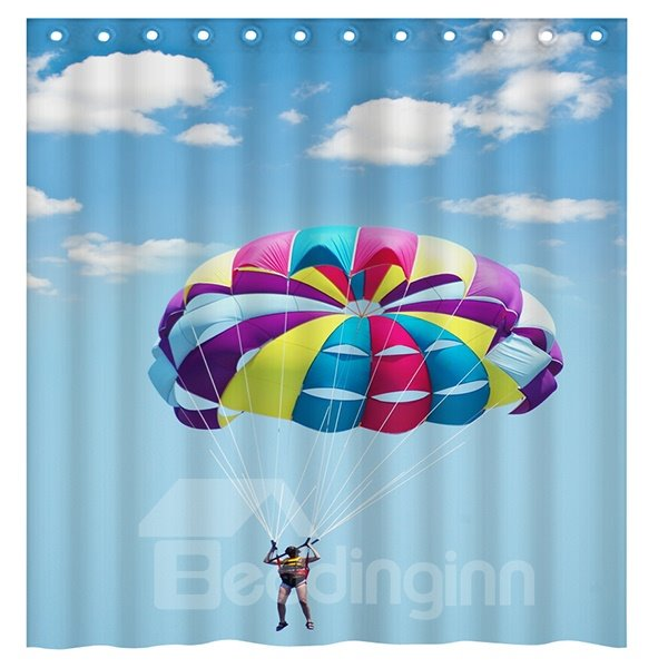 New Concise Parachute Jumping in Bright Sky 3D Shower Curtain