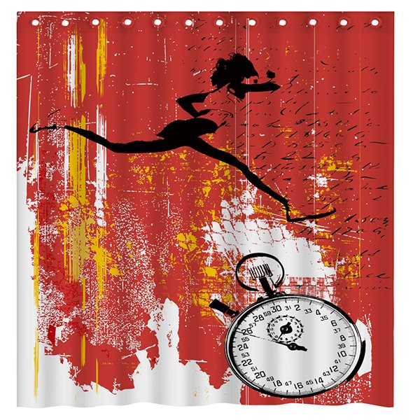 Fashion Unique Doodle Running Woman and Stopwatch Brick-red 3D Shower Curtain