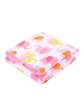 Bouncy Fresh Pink Elephant Pattern Baby Blanket
