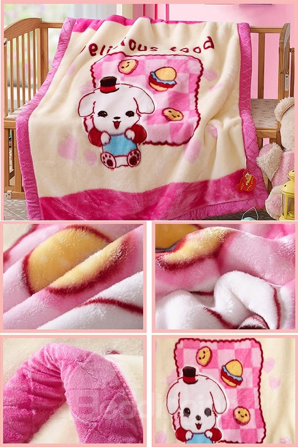 Lovely Pink Dog and Delicious Food PrintBaby Blanket