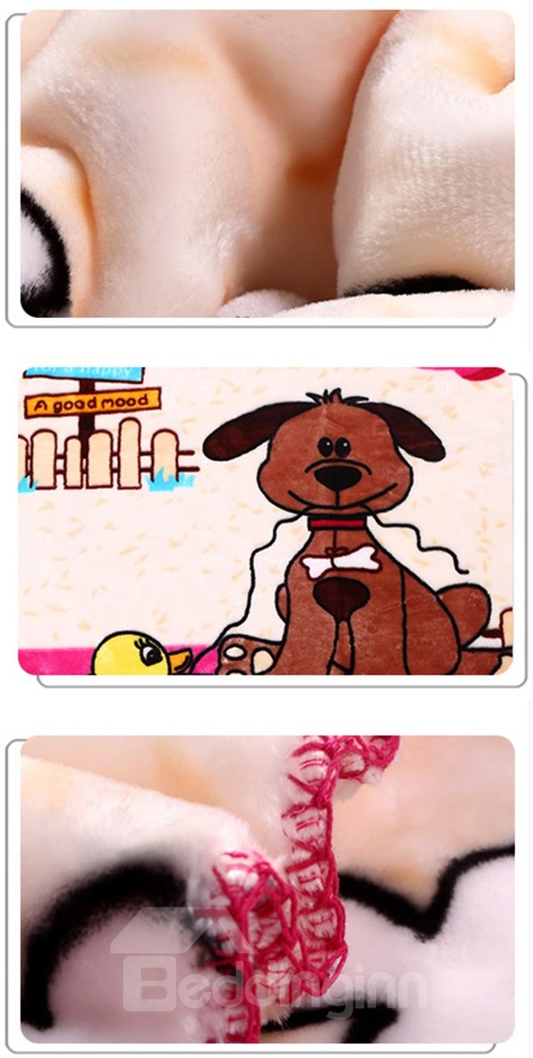 High Quality Warm Flannel Dog Print Baby Blanket