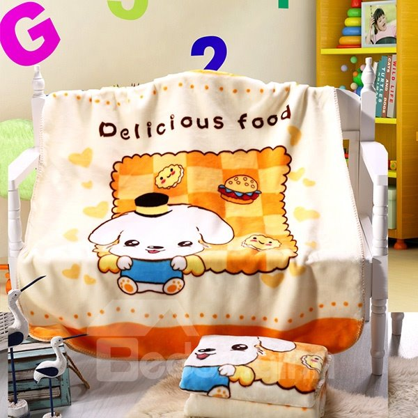 Cute Dog and Delicious Food Print Baby Blanket