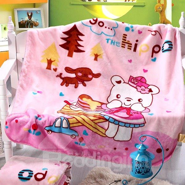 Lovely Bear Print Warm Flannel Baby Blanket
