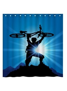 Modern Fashion Man and Bicycle 3D Shower Curtain