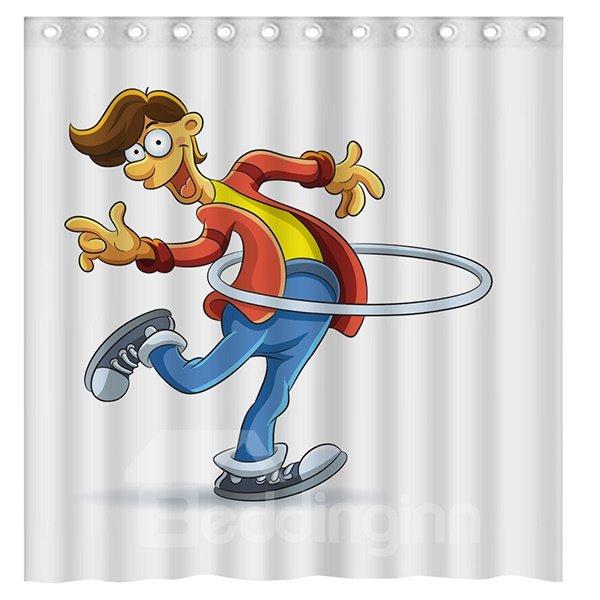 Pretty Funny Hula Hoop Boy 3D Shower Curtain