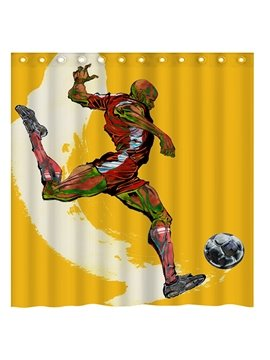 Innovative Design Soccer Player Polyester 3D Shower Curtain