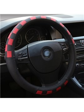 Creative Sporty Leather Material Plaid Steering Wheel Cover