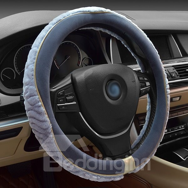 Comfortable Special Designed Dual Color Long Plush Steering Wheel Cover