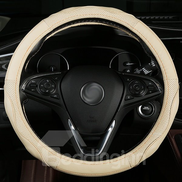 Concise and Elegant Pure Colored Leather Material Steering Wheel Cover