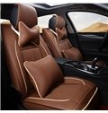 Premium Leather Material Pure Color with Contrasting Color Line Car Seat Cover