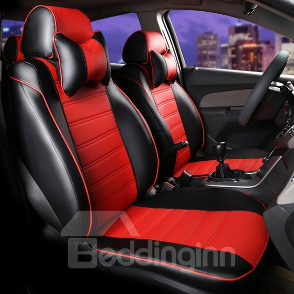 Sporty Designed Smooth Leather Material Side Cushions Car Seat Cover