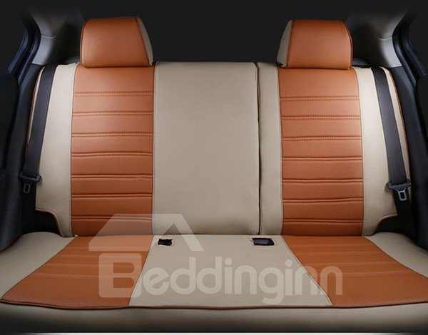 Sporty Designed Smooth Leather Material Side Cushions Custom-Fit Five Car Seat Cover