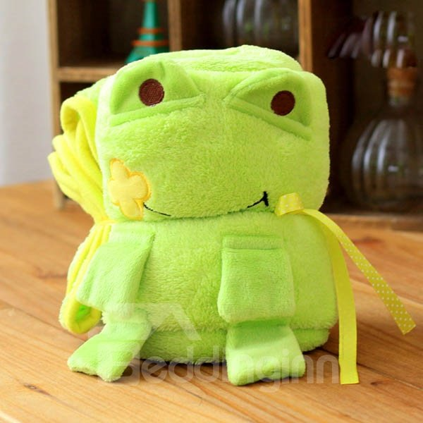 Light Green Cute Frog Warm Flannel Baby Blanket