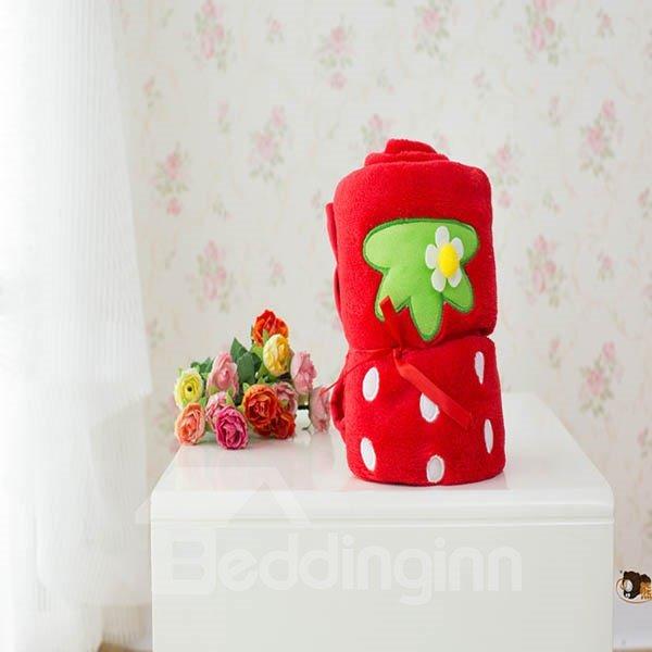 Vivid Red Strawberry Warm Flannel Baby Blanket