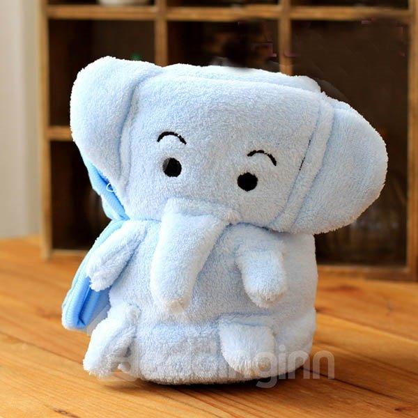 Warm Flannel Light Blue Elephant Baby Blanket