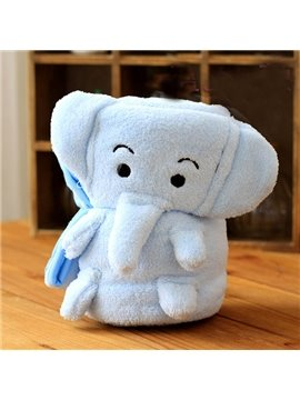 Warm Flannel Light Blue Elephant Baby Blanket