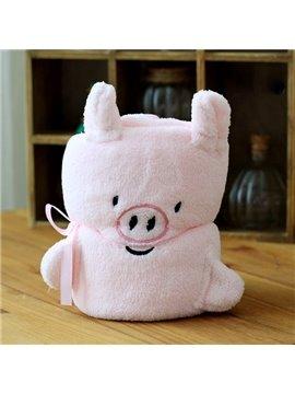 Warm Flannel Cute Pink Pig Baby Blanket