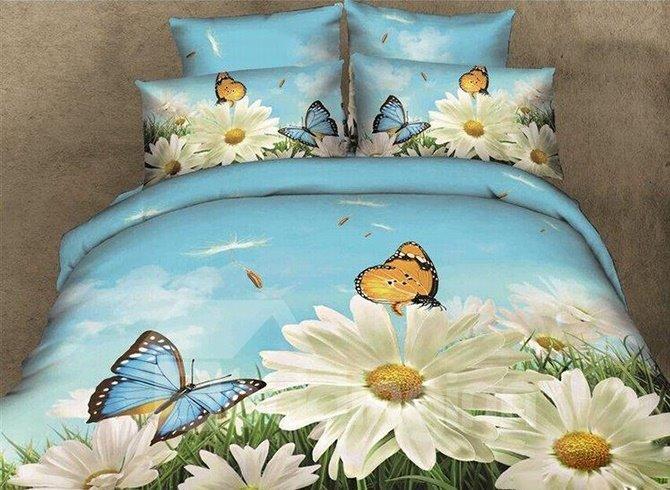 White Flowers and Butterflies Print Cotton 4-Piece Duvet Cover Sets