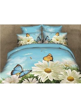 White Flowers and Butterflies Print Cotton 4-Piece Duvet Cover Sets