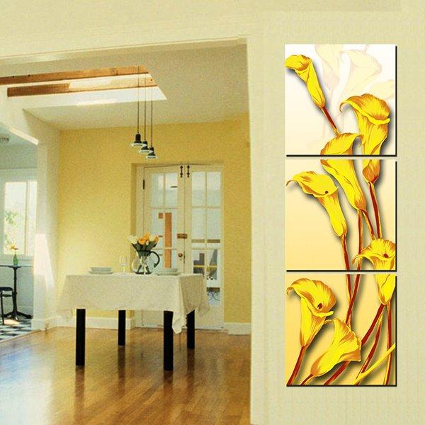 Unique Yellow Golden Calla 3-Panel Wall Art Prints
