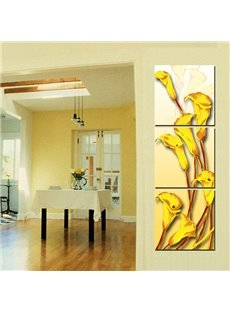 Unique Yellow Golden Calla 3-Panel Wall Art Prints