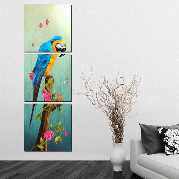 20×20in×3 Panels Parrot on Tree Hanging Canvas Waterproof and Eco-friendly Framed Prints