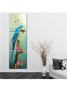 Wonderful Parrot Sitting on Branch 3-Panel Wall Art Prints