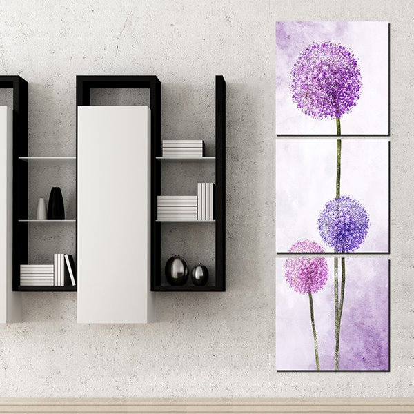 Simple Purple Dandelion 3-Panel Wall Art Prints
