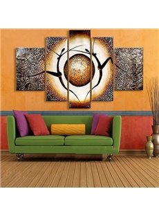 Dancers and Planet Pattern Hanging Canvas Waterproof and Eco-friendly 5-Panel Framed Prints