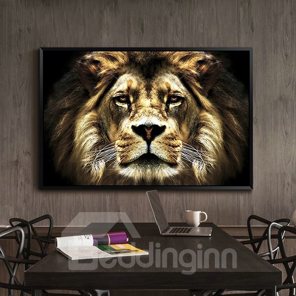 Amazing Lion Pattern 1-Panel Framed Wall Art Print