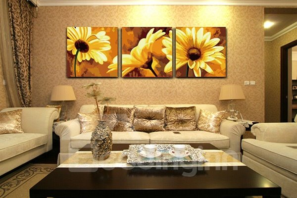 Gorgeous Daisy Living Room 3-Panel Wall Art Prints