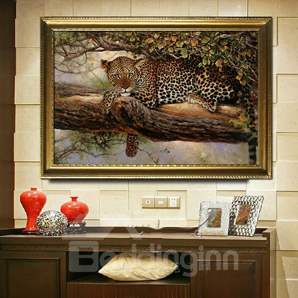 Amazing Leopard Resting on the Tree 1-Panel Framed Wall Art Prints