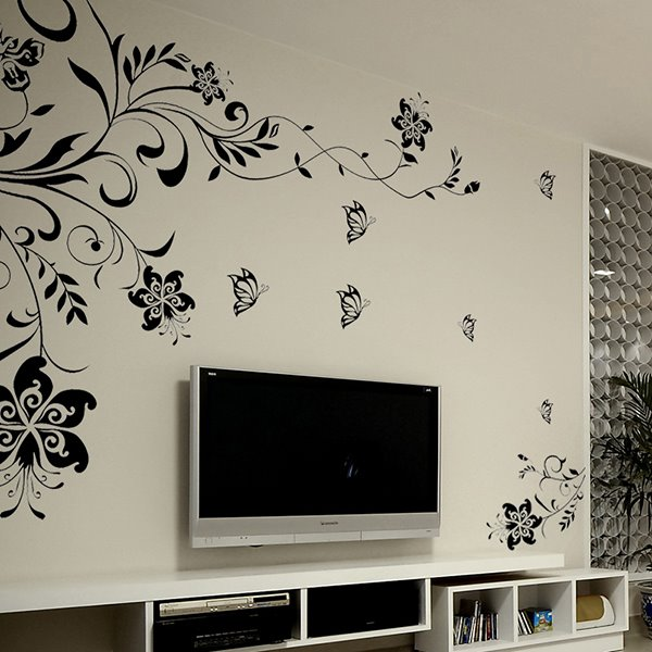 79*45in Black Flowers Removable TV/Sofa Background Wall Stickers