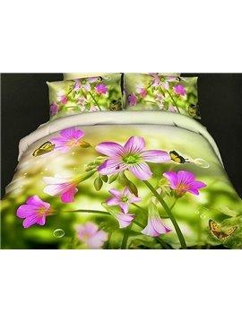 Fresh Butterflies Flowers Print Green 4-Piece Cotton Duvet Cover Sets