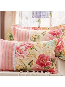 Fancy Flowers Printing 100% Cotton 2-Piece Pillow Cases